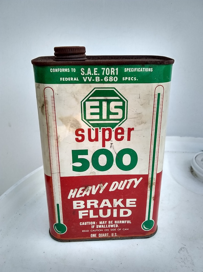 EIS super 500 Tin can Auto motive vintage cars and Hot Rods auto car oil  cans vintage metal