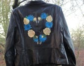 Hand painted cream rose and blue thistle leather jacket