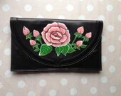 Hand-painted black leather clutch with pink rose and green leaf detail