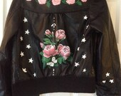 Hand painted bespoke leather jacket - white stars and pink roses, for age 10.
