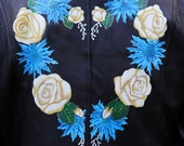 Heart Shape Floral Wreath Hand Painted Leather Jacket