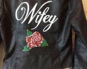 Hand Painted Leather Wifey Jacket