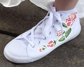 Hand-painted Hi-top Trainers with pink roses; ideal for the alternative brides