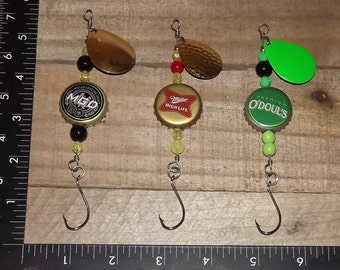 Bottle Cap Fishing Spinner Lures MGD Miller and O'Doul's Beer