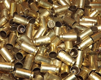 9mm Brass Fired Bullet Cartridge Cases From an Indoor Range for Crafts Jewelry Steampunk Cleaned