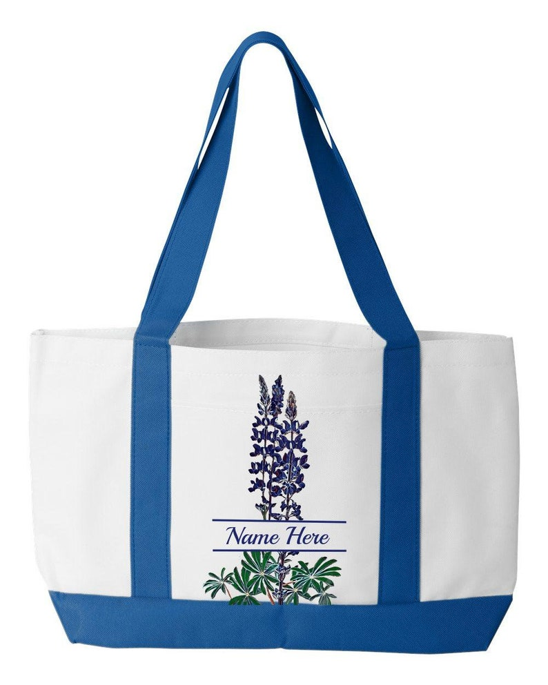 Mom Friend Or Self PERSONALIZED Watercolor-Style Bluebonnet Tote Bag ~ Gift For Texas Teacher