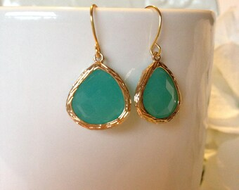 Sea Foam Green Earrings, Sea Foam Green and Gold Earrings, Gold Earrings, Gift Idea