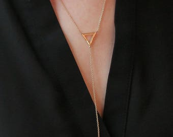 Long Delicate Gold Chain Lariat - Gold Triangle Cutout with Drop - Simple Everyday Layering Y Necklace - Dainty Gold Necklace