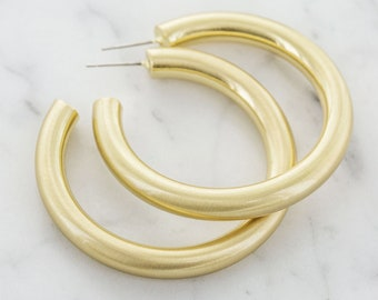 7f8236816 Chunky Lightweight Hoop Earrings - Hollow Light Hoop Earrings - Big Gold  Hoops - Simple Everyday Earrings