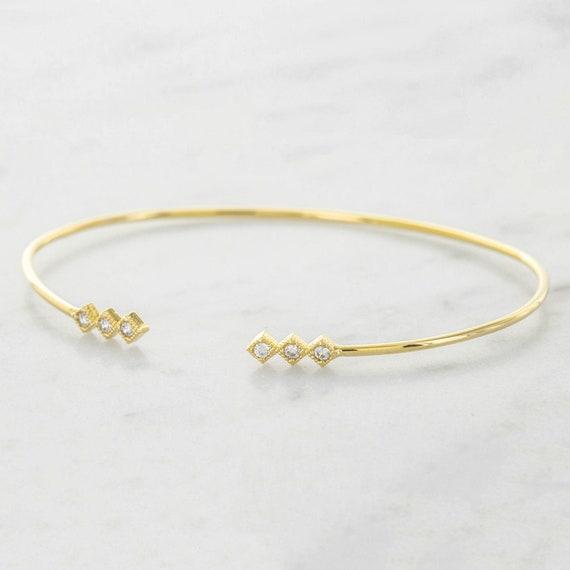 a29e9b4f5033 Classic Dainty Gold Bracelet Cuff Thin Cuff Bracelet Open