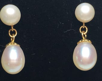 14K White Akoya pearl post earrings with South Sea teardrop white pearl drops
