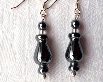 Hematite earrings with Sterling silver hooks