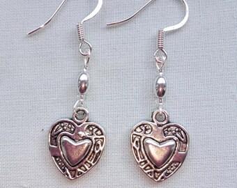 Heart Earrings, Mother's Day, gift for her, hooks, clips, studs, screws