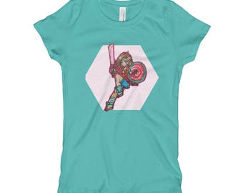 Girl's sword and shield anime T-Shirt