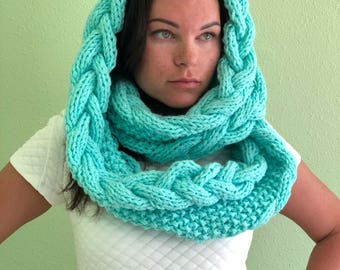 Сircle scarf, knitted cowl snood, knitted women's cowl, bulky cowl snood, hand made, Gift, Infinity scarf, Chunky Neck warmer