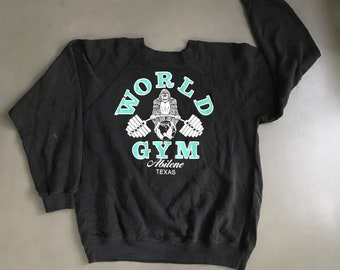 a82222370 Vintage 1980s World Gym sweater size Large