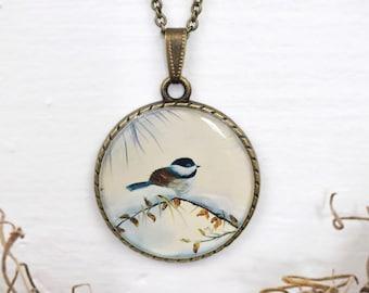 Chickadee Necklace, Bird Art Pendant, Art Print Cameo Jewelry, Original Oil Painting, Gift for Mom, Antique Bronze