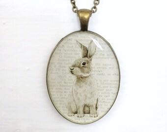 "Bronze Rabbit Necklace, Vintage Wild Hare Pendant, Victorian Art Cameo, Illustrated Handmade Jewelry, CottageCore Bunny Lover Gift, 30"""
