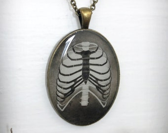 Anatomy Art Print Necklace, Ribcage Cameo Pendant, Darkness and Light, Victorian Gothic Jewelry, Halloween Skeleton Bones, Original Art