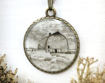 Prairie Art Necklace / Country Gifts / Alberta Landscape / Cottagecore Barn Pendant / Ranch Style Jewelry / Gift for Farmer