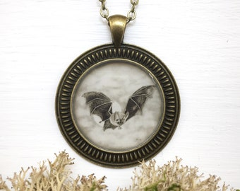 Bat Necklace / Bronze Gothic Cameo Pendant / Vintage Victorian / Flying Fruit Bat Full Moon Art Print / Halloween Jewelry Gift for Her
