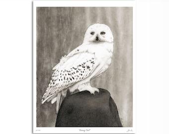"Snowy Owl Art Print, Realistic Owl Wall Art Decor, Black and White 8"" x 10"""