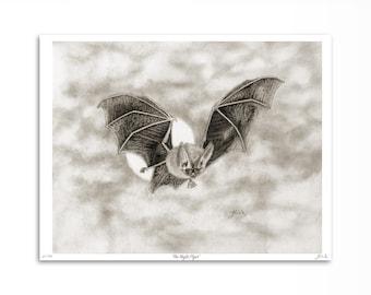 Bat Art Print / Brown Bat Artwork Illustration / Flying Bat Drawing / 8 x 10 inches