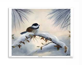 Chickadee in Winter Snow / Bird Art Print / Limited Edition / Nature Artwork / Canadian Original Oil Painting on Canvas / Wall Art 8 x 10