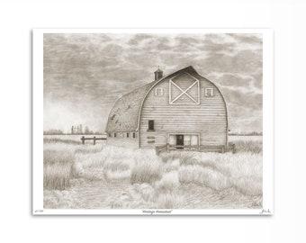 "Country-Chic Decor / Alberta Landscape Wall Art / Cottagecore Barn Artwork / Limited Edition Original Print / Gift for Farmer / 8"" x 10"""