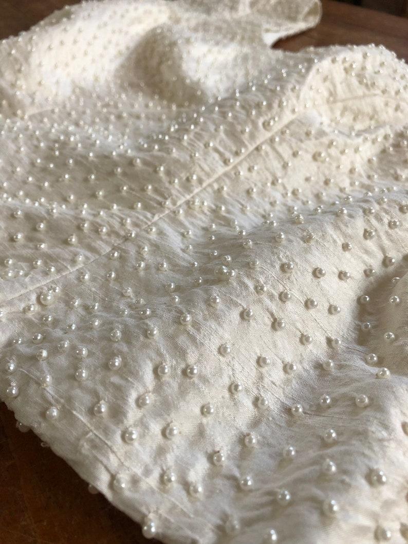 White Silk Vintage Beaded Croptop