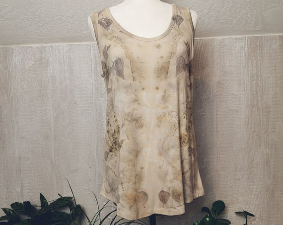 Plant Dyed High/Low Tank Top | Eucalyptus | Weeping Birch | Hemp | Blackberry Leaves