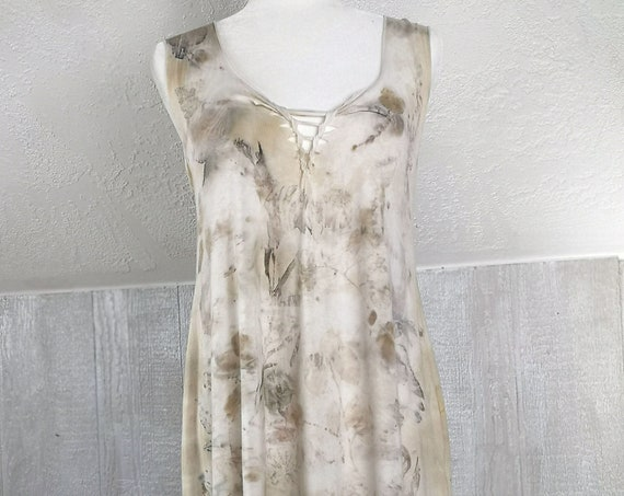 Eco Printed Pixie Tunic | Feather & Silver Dollar Eucalyptus | Soy Blend Material | Hand Dyed with Botanicals | One Size | Natural Dye