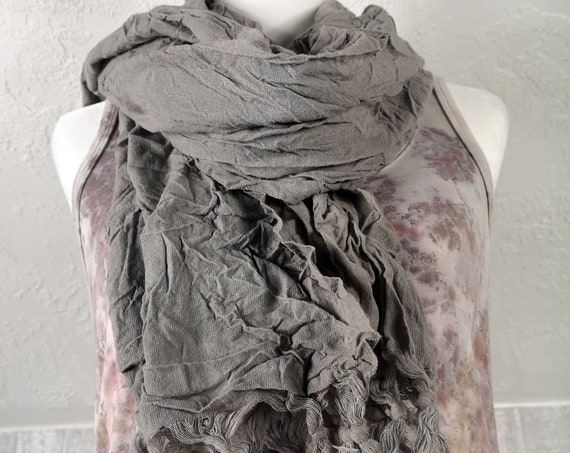 Plant Dyed Turkish Towel/ Scarf | Organic Cotton | Botanically Dyed | Eucalyptus & Iron | Eco Dyed