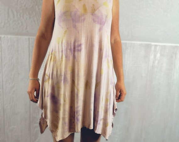 Eco Dyed Tunic | Eucalyptus | Chinese Maple Leaves | Soy Blend Material | Hand Dyed with Botanicals | Pixie | Eco Printed | One Size