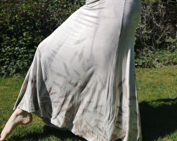 Plant Dyed Skirt | Eucalyptus | Hand Dyed with Botanicals |  Soy Blend | Dress | Small | Tie Dye Style | Boho | Long Skirt