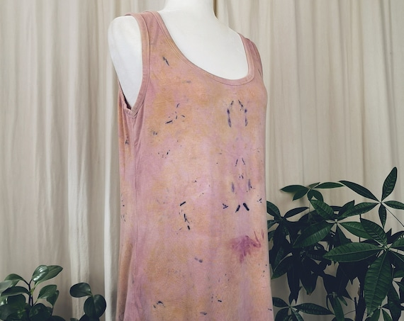Plant Dyed High Low Tank   Hand Dyed with Botanicals   Medium   Yoga   Eco Print