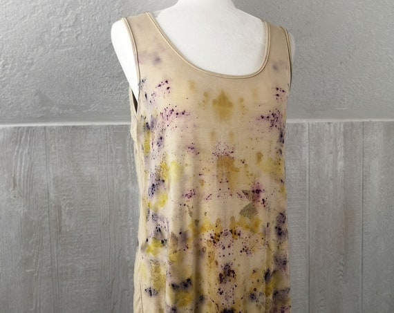Tank Top with Criss Cross Back Detail | Hand dyed with Logwood, Lac Extract and Onion Skins