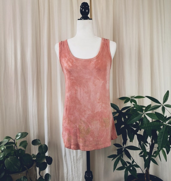 Plant Dyed High Low Tank   Hand Dyed w/ Botanicals   Madder Root   Medium   Eco Print   One of a Kind