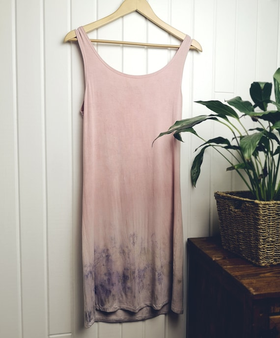 Botanically Dyed Tank Dress | Brazilwood | Rose Petals | Soy Blend Material | Hand Dyed with Plants | Eco Printed | Pink | Purple |