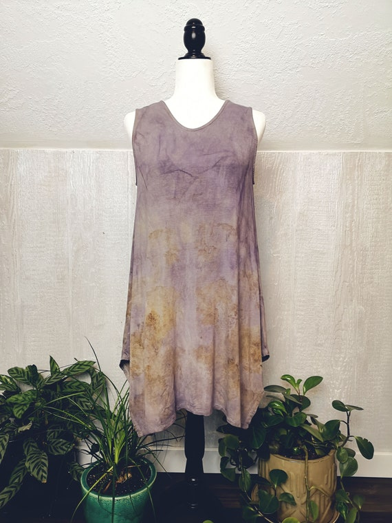 Plant Dyed Dress or Tunic | Maple Leaves | Logwood | One Size