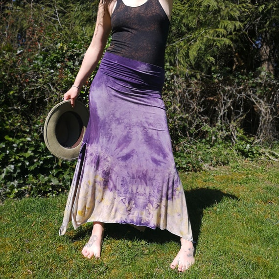 Plant Dyed Skirt | Eucalyptus Leaves & Onion Skins | Logwood | Hand Dyed with Botanicals |  Soy Blend | Dress | Small | Tie Dye Style | Boho