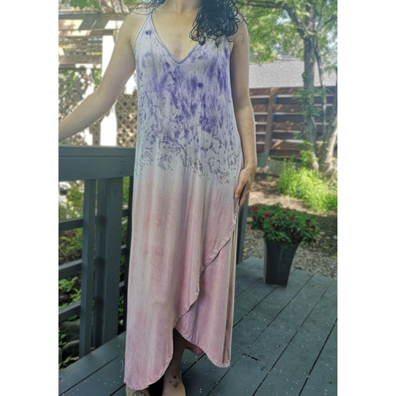 Eco Dyed Goddess Dress | Rose Petals | Brazilwood Extract | Soy Blend Material | Hand Dyed with Botanicals | One Size | Maxi Dress | Pink