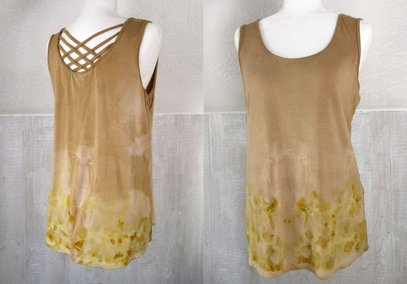 Eco Printed Tank Top | Quebracho & Onion Skins | Criss Cross | Soy Blend Material | Hand Dyed with Botanicals | Botanically Dyed