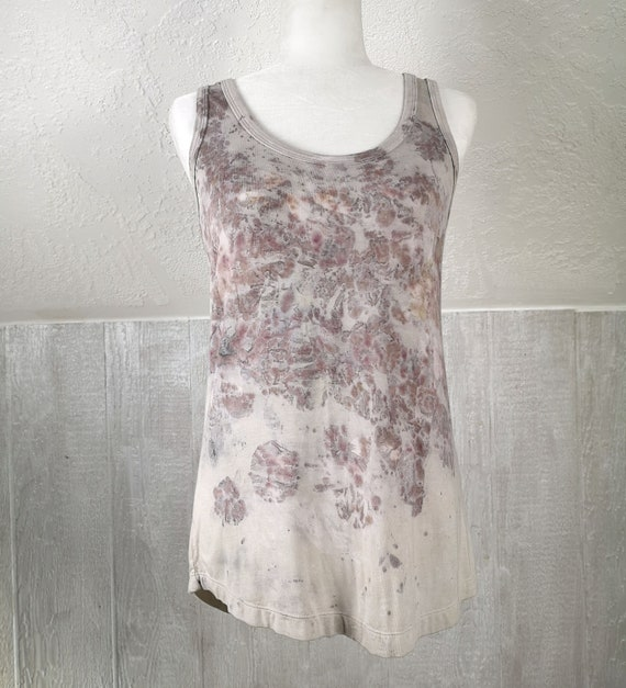 Eco Dyed High/Low Tank Top | Dyed with Rose Petals & Leaves | Women's Boho | Natural Dye | Botanical Dye | Eco Printed | Small/Medium