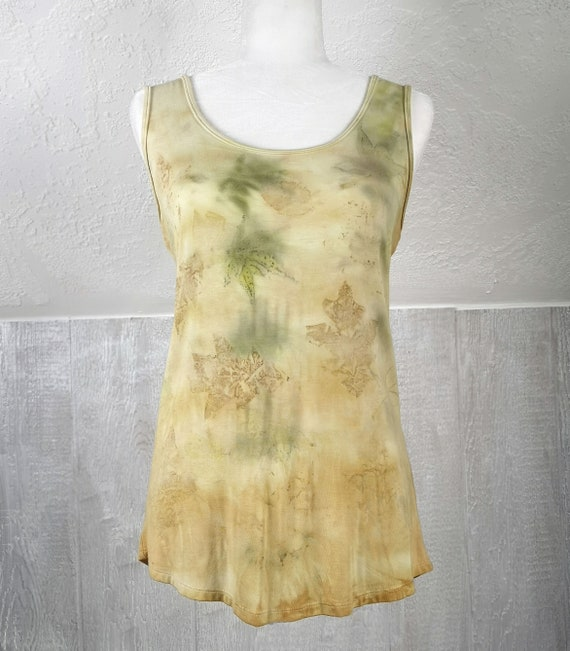 Eco Printed Tank Top | Japanese Maple & Oak Leaves | Onion Skin Bath | Criss Cross | Soy Blend Material | Hand Dyed with Botanicals