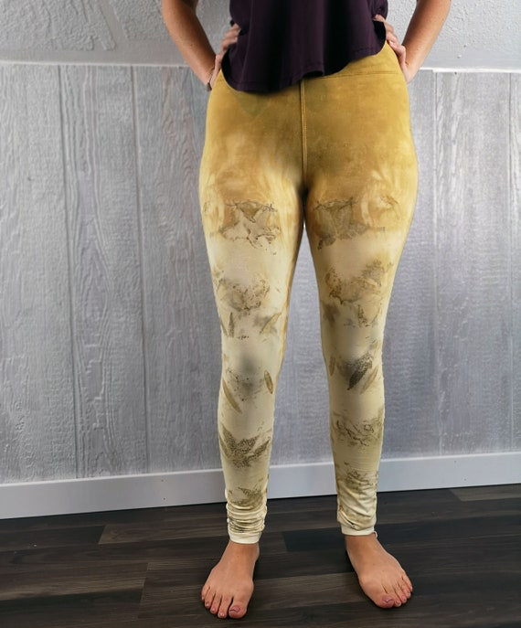 Plant Dyed Organic Cotton Leggings | Eucalyptus | Fustic | Japanese Maple Leaves | Hand Dyed with Botanicals | Yoga | Unisex | Large