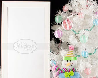 Download Free Sweet Snowman for Christmas   Mockup   Silver tree star   White Sign & Frame   White Christmas Tree   Candy Colors Ornaments   Vertical PSD Template