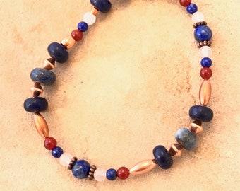 Lapis moonstone, carnelian and copper bracelet