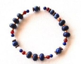 Lapis lazuli, moonstone, carnelian and copper bracelet