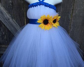 White Blue Sunflower Tutu Dress
